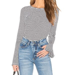 FRAME Bell Sleeve Tee, Black and White Stripes